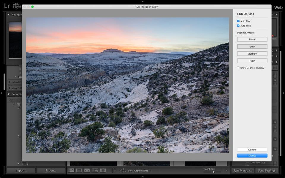 Lightroom panel hdr