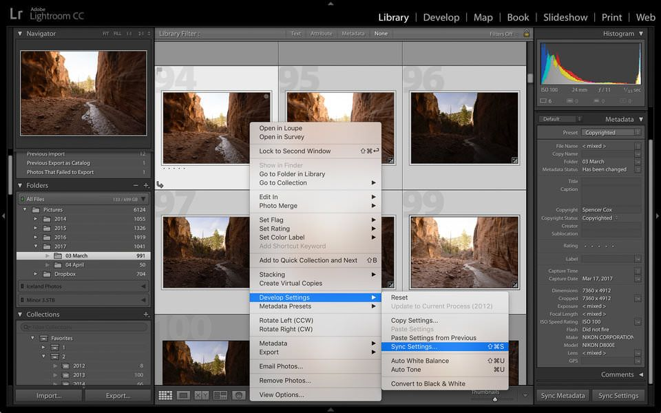 Lightroom sincronizar ajustes
